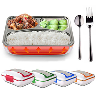 ONEUP 220V Electric Heated Lunch Box Portable Stainless Steel Bento Box Meal Warmer Food Container Lunchbox with Tableware