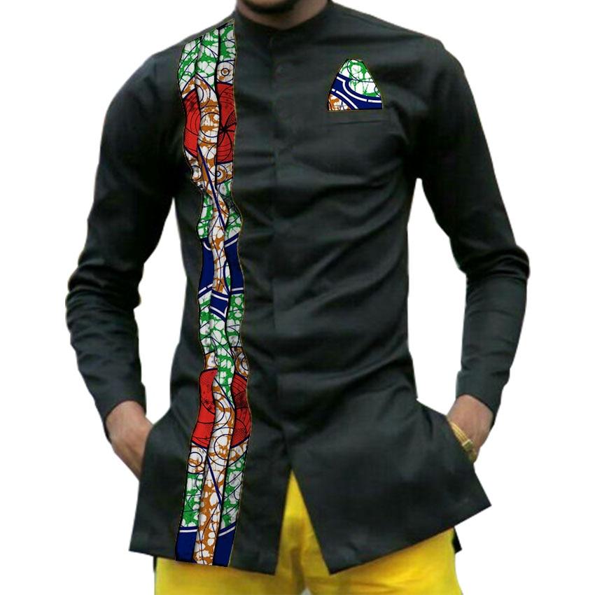 African print mens dashiki shirts men s African clothes patchwork shirt men long sleeve stand collar