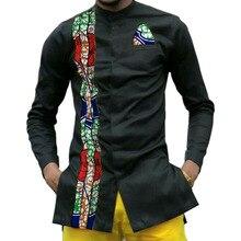 Африканский принт мужские dashiki рубашки мужская Африканский одежда лоскутное мужские рубашки Длинные рукава рубашка со стоячим воротником в Африке одежда