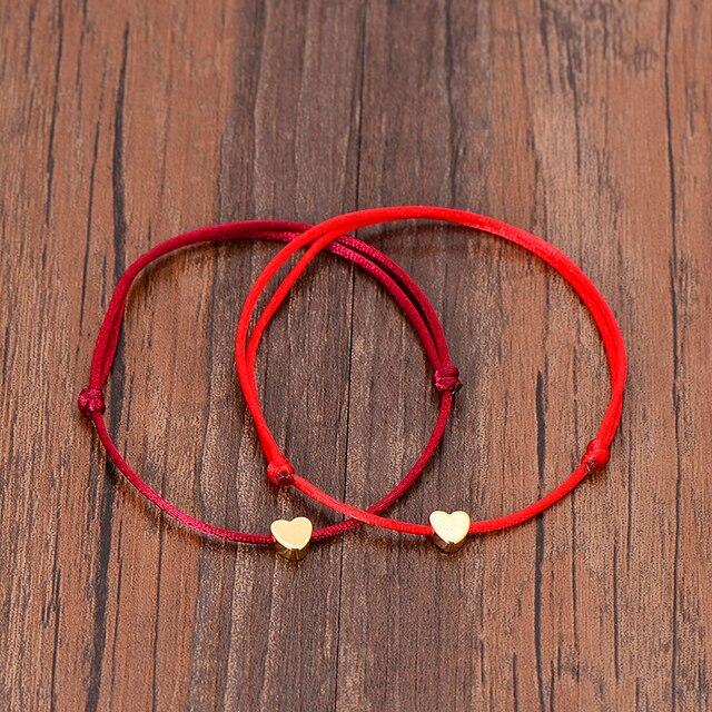VEKNO, pulsera de corazón de Color dorado, joyas trenzadas de la suerte de plata, pulsera de pareja Rop cordel rojo ajustable para mujeres y hombres