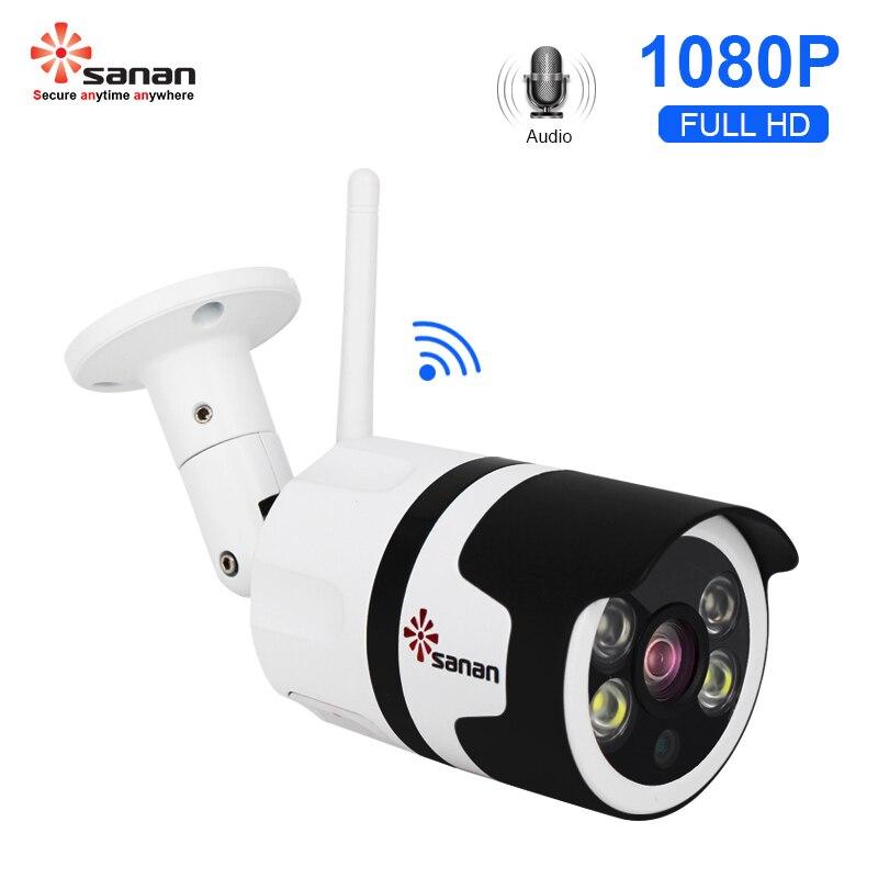 Güvenlik ve Koruma'ten Gözetim Kameraları'de SANAN 2MP Starlight Renk Gece Görüş Ağı Wifi Kamera Bullet Su Geçirmez Kablosuz Açık IP Kamera 1080P Metal Konut