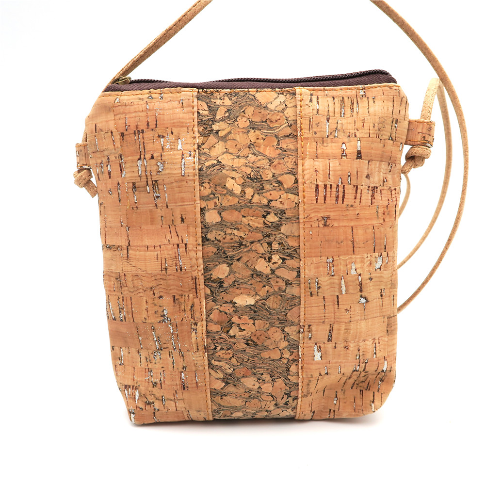 Natural with sliver cork body cross wood gain cork Bags small size Messenger bag original handmade Eco Bag-193 with logo sliver