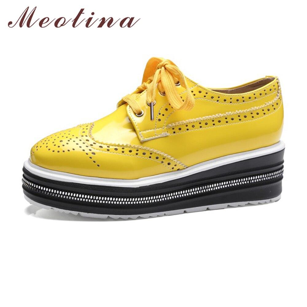 Meotina Women Shoes Flat Platform Shoes Oxfords Brogue Flats Shoes Patent Leather Cutout Lace Up Shoes
