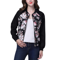 Fashion Design New Spring Autumn Bomber Jacket Women Floral Print Camouflage Women Basic Coat Tops Chaquetas