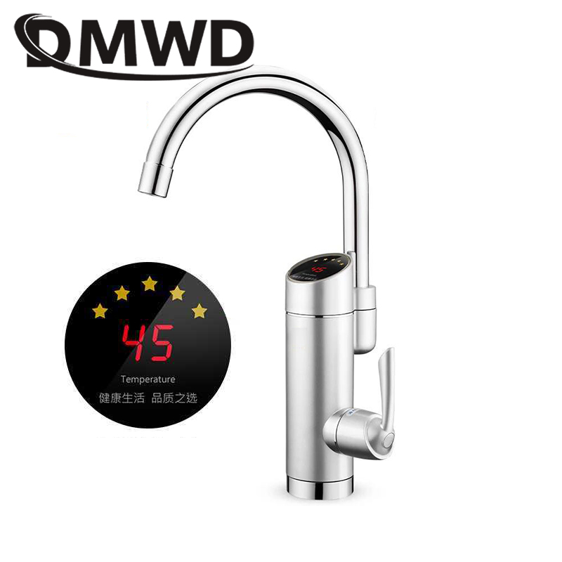 DMWD Electric Kitchen Heater Tap Temperature Display Tankless Instantaneous Hot Water Heating Faucet Boiler Shower 3000W EU Plug
