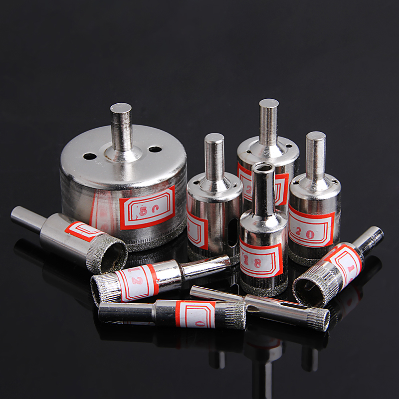 10Pcs 8-50mm Diamond Coated Core Saw Hole Drill Tool Set for Glass Marble Tiles