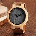 Relojes de madera Los Hombres del Cuero Genuino Reloj Gris Dial de Tiempo Reloj de Pulsera Hombres Deportes Ocasionales de Las Mujeres De Bambú Natrual De Madera Relojes
