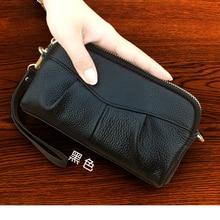Bolso cosmético para mujer, bolso de maquillaje de cuero auténtico, estuche de belleza, bolso de mano Vintage cosmético, bolsa retro, bolso de moda, organizador Causal