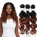 EVET Brazilian Virgin Hair Curly Hair Bundles 7A Unprocessed Ombre Brazilian Hair Two Tone T1B/30 3pcs/set 150g Shedding Free