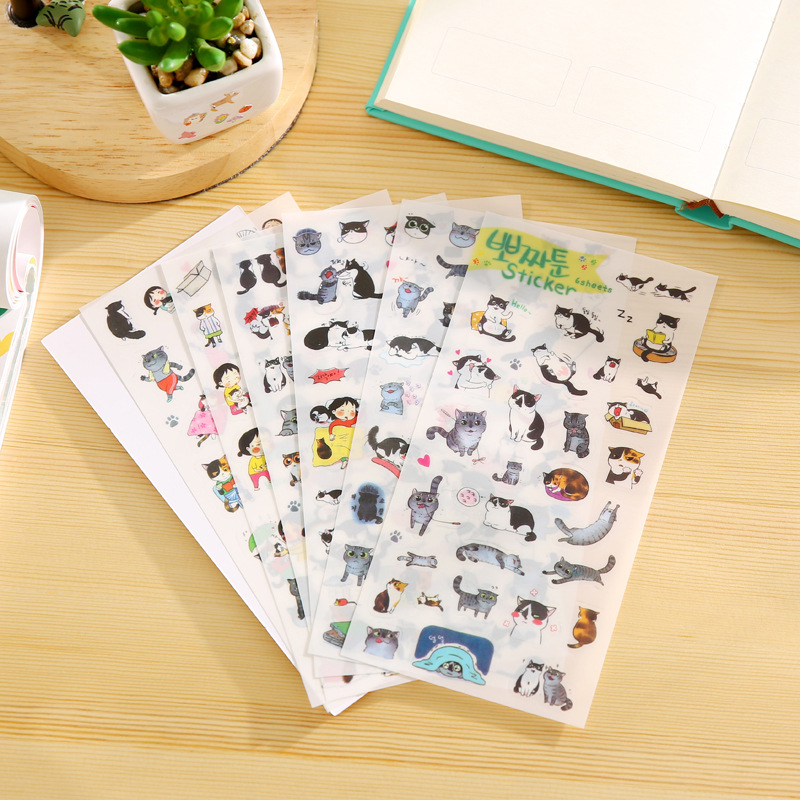 6 PCS New South Korea Transparent PVC Stickers Cute Cat Diary Photo Album Stickers Sticky Notes Post Papelaria 100pcs transparent color plastic index tabs flag sticky note instruct page mark stickers post label office papelaria supplies