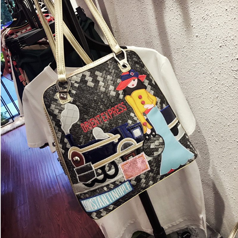 Shoulder Bag New Stitch Contrast Multi-function Backpack Joker Compilation Shoulder Bag Simple Small Fresh Large capacity Backpa contrast lace open shoulder tee