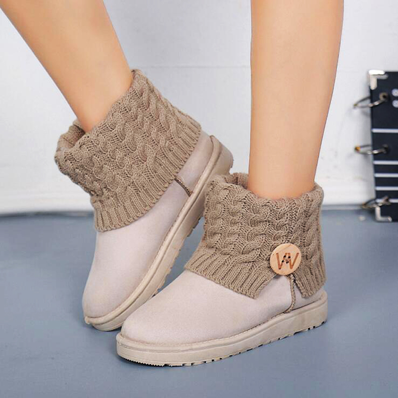 2016 New Fashion Women Winter Snow Boots Plush Fur Warm Suede Waterproof Leather Patchwork Lady Ankle Boot Platform Shoes  Mujer