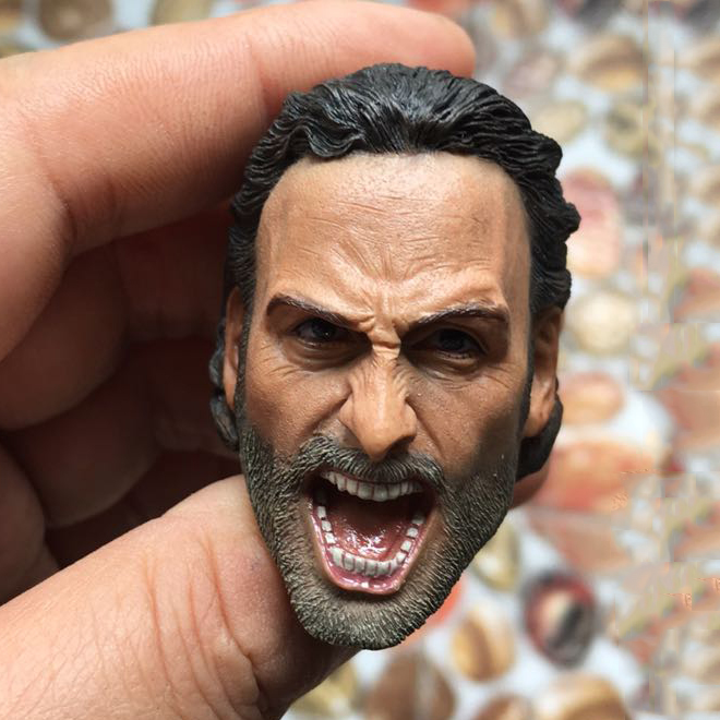 New 1:6 Action Figure Accessory 1/6 Rick Head Carving Scream Rick Roars The Walking Dead Zombies Police  for 12