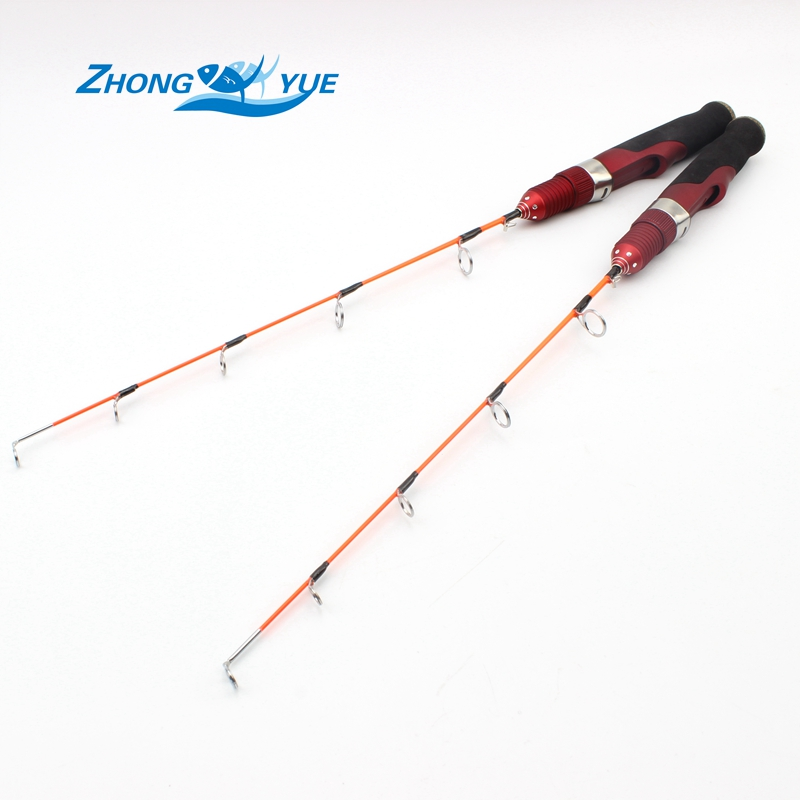 High quality red mini ice fishing rod carbon rod 47cm for Red fishing rod