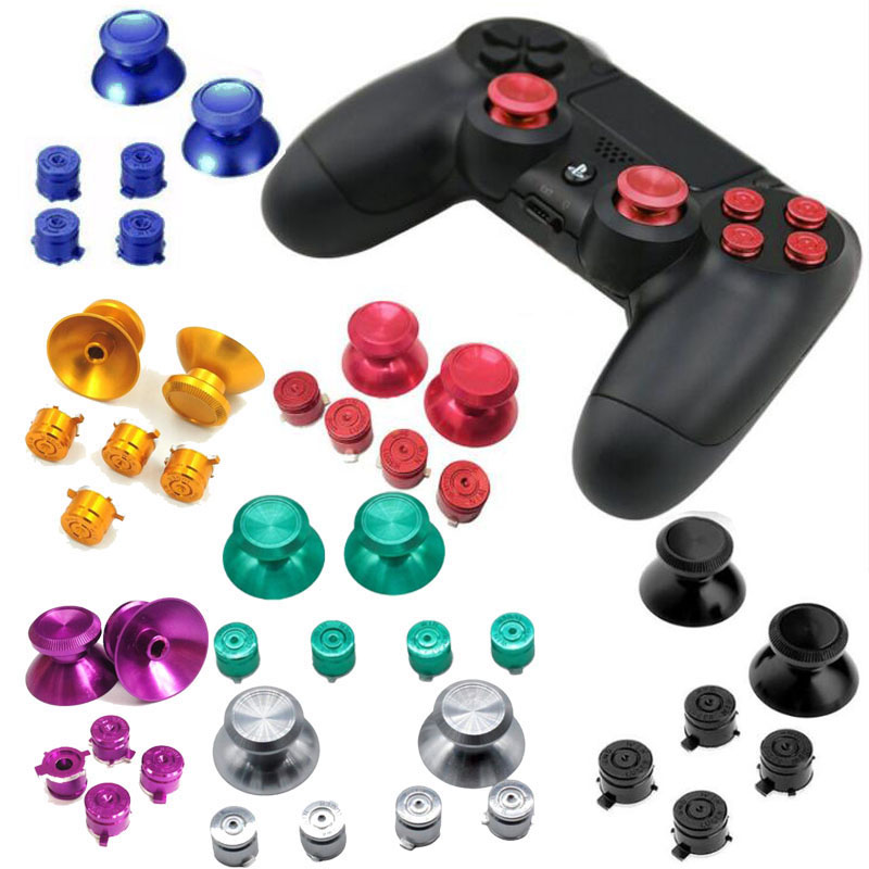 Metal Analog Joystick ThumbStick Grip Caps+ABXY Buttons Repair Part For Sony Playstation Dualshock 4 PS4 DS4 Gamepad Controller
