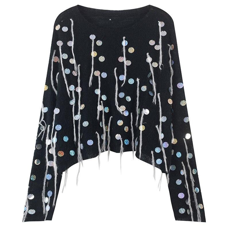 Negro Couture Primavera largo Moda Fondo blanco Las Lentejuelas Suéter 2019 Haute Mujeres Suelto De Tamaño Medio Jersey Plus Punto qFx8Tgxwa