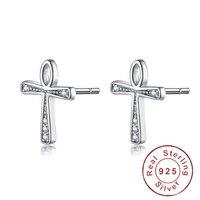Luxus Genuime 925-Sterling-Sliver gewicht 1,0g CZ Stein Fashion Kreuz Liebe Ohrringe Reinem Piercing Bijoux echtes Bolzenohrrings
