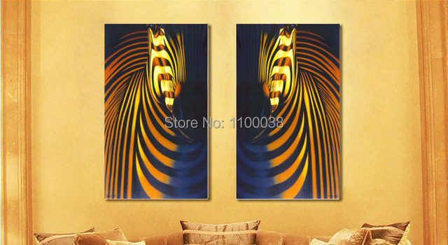 Free shipping Home Decor Oil Painting,black white yellow Zebra ...
