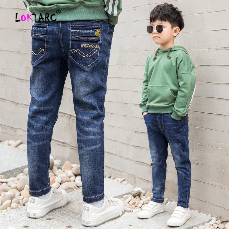 LOKTARC Children's Jeans for Boys Denim Pants Elastic Waist Letter Autumn Spring Kids Clothes Cotton Casual Baby Boy Jeans Pants(China)