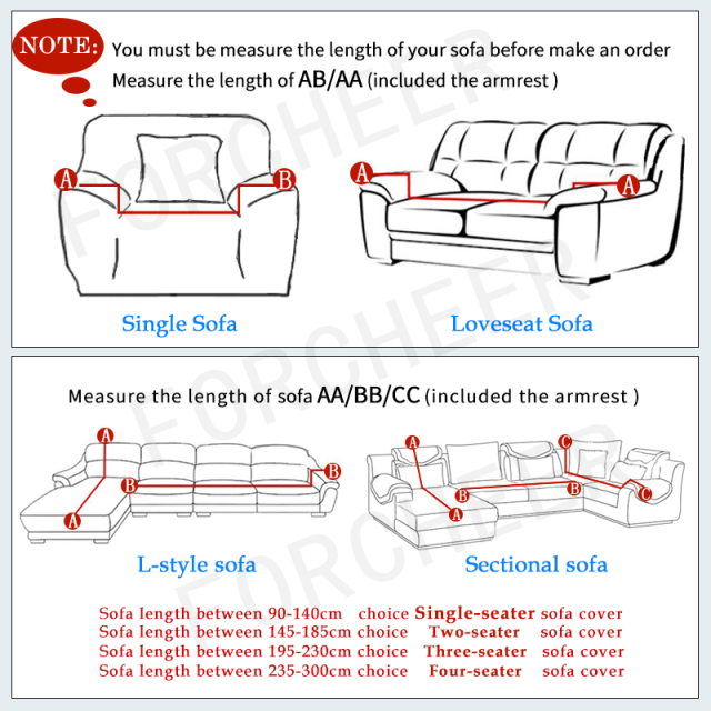Sofa Stretch Slipcovers For Single / Two / Three Seater