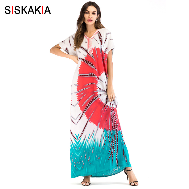 Siskakia Fashion contrast color Embroidery patchwork print dress Summer 2018 plus size maxi long dress Bohemia