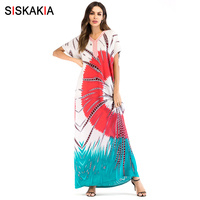 Siskakia Fashion contrast color Embroidery patchwork print dress Summer 2018 plus size maxi long dress Bohemia ethnic robes UAE