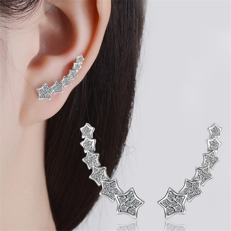 SHNCA Brand Luxury Pure 925 Sterling Silver Rhinestones Stars Earings Fashion Star Even Row Unice Earrings For Women Brinco L008 ...