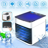 USB Mini Portable Air Conditioner Humidifier Purifier LED Light Desktop Air Cooling Fan Air Cooler Fan for Office Home