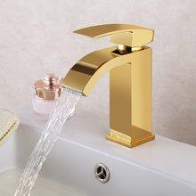 Золотой бессвинцовый сплошной латунный медный водопад раковина кран Золотой смеситель с прямоугольным носиком для туалета