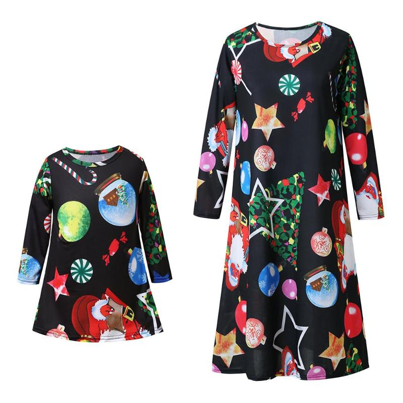 2018 New Mother Kids Christmas Beach Dresses Family Matching Outfits Mother Daughter Dresses Autumn Long Sleeve Family Dress mother daughter dresses 2018 christmas family matching outfits mother