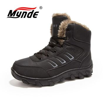 Mynde/мужские ботинки с мехом, теплые зимние ботинки, мужские зимние ботинки, Рабочая обувь, мужская обувь, модные резиновые ботильоны, большие...