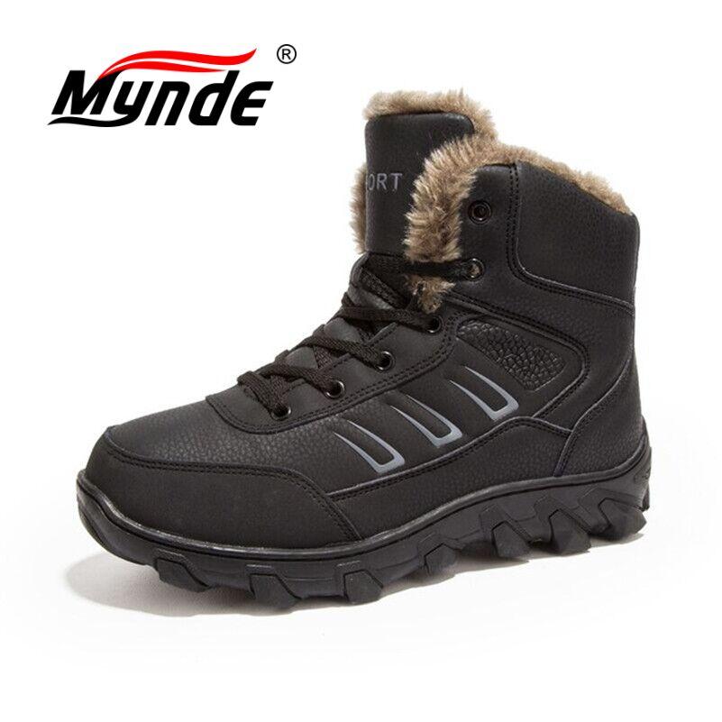 цены на Mynde Men Boots With Fur Warm Snow Boots Men Winter Boots Work Shoes Men Footwear Fashion Rubber Ankle Boots Big Size 39-48 в интернет-магазинах