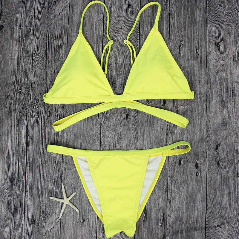 ece8e29779cd5 ... 2019 Brand Yellow Women Swimsuit Sexy Brazilian Thong Bikini Swim Set  Swimwear Woman Low Waist Beach ...
