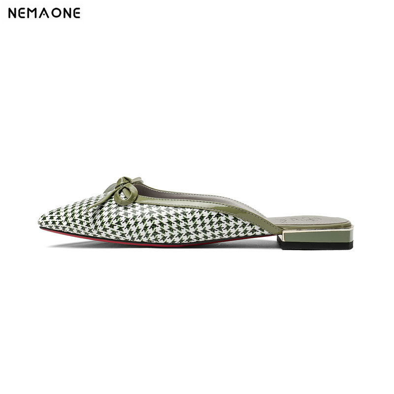 NEMAONE Shoes woman genuine leather Summer 2018 green Outside slippers sandals 2cm low square heels girl shoes size 33 34 42 43NEMAONE Shoes woman genuine leather Summer 2018 green Outside slippers sandals 2cm low square heels girl shoes size 33 34 42 43
