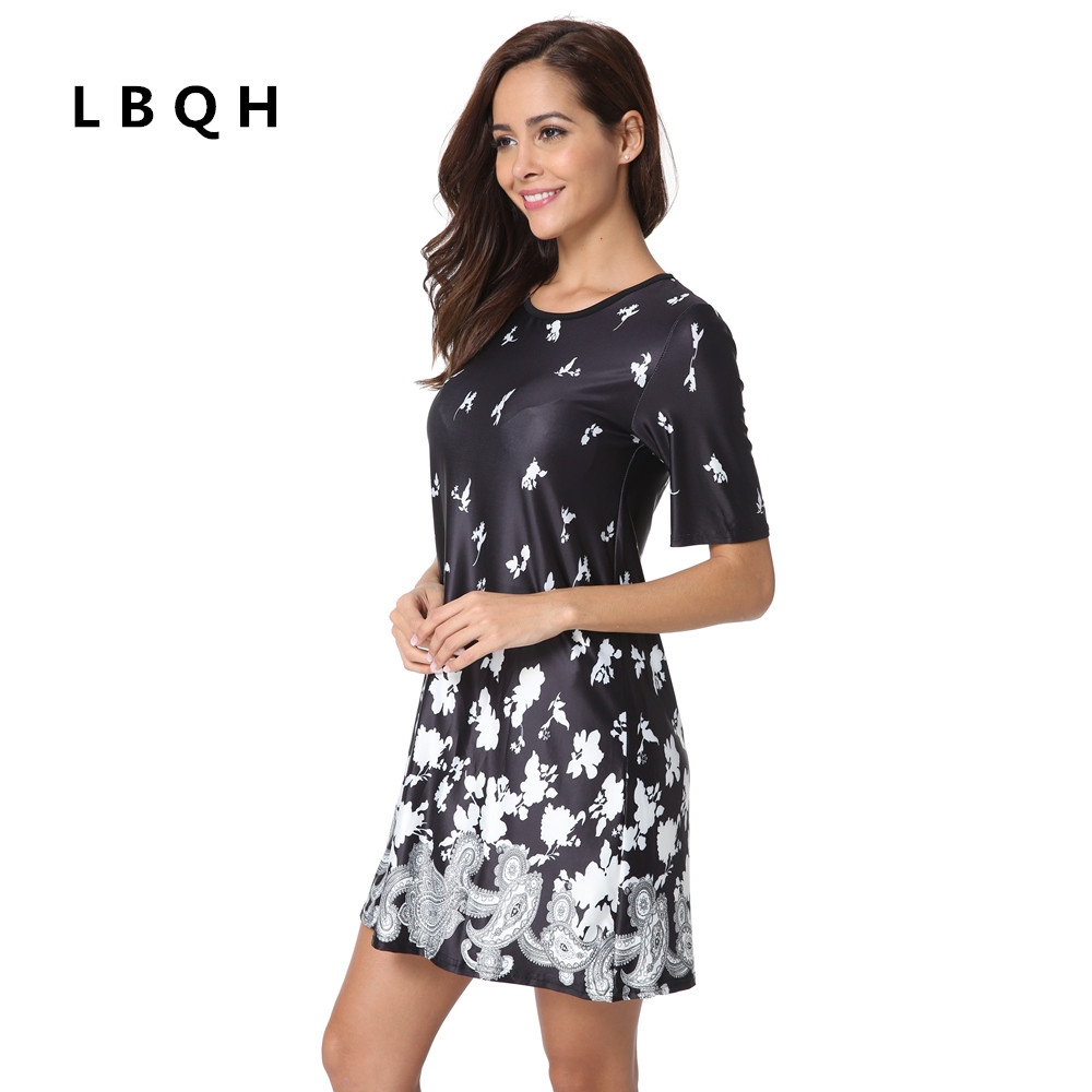 LBQH New women's fashion sexy summer short-sleeved brand dress high-quality printing black knitted elastic fabric women's dress