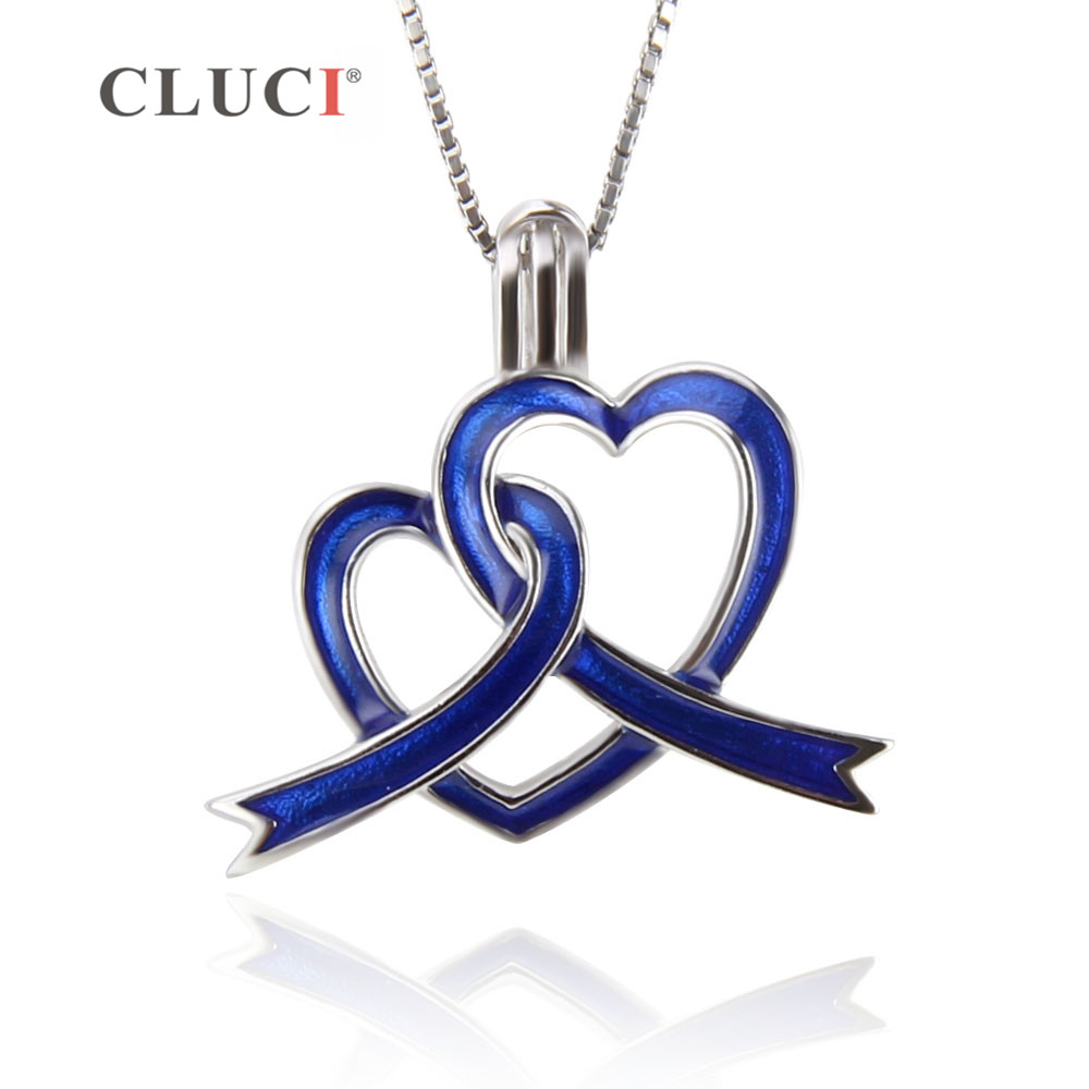 CLUCI 3PCS 925 sterling silver Blue ribbon hollow Pendant Raise Awareness Caring And Love Autism Awareness Ribbon Charms jewelry