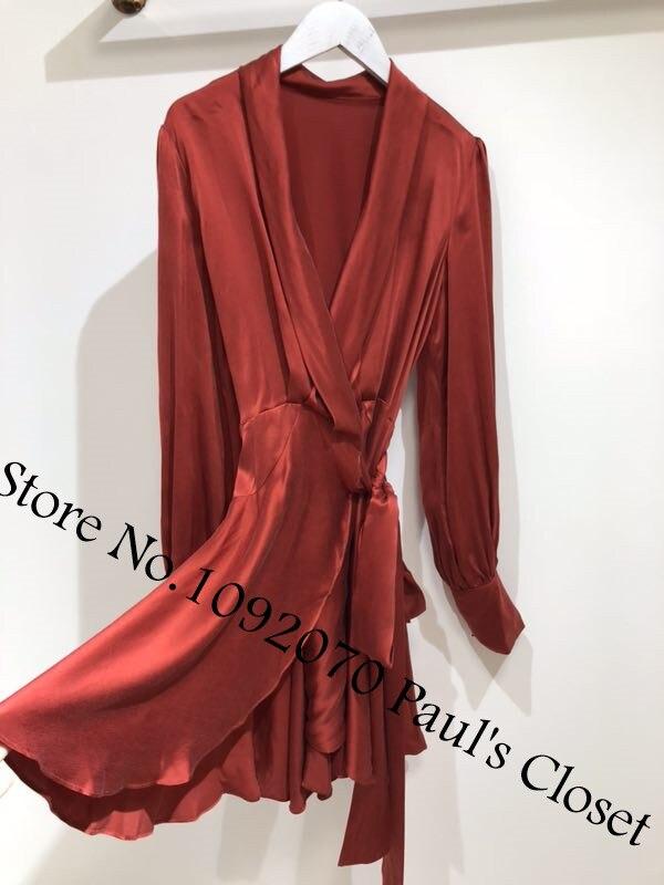 Ceinture Red Femmes Volants Soie Manches Mini Boutonné cravate Blouson Robe Auto À Wrap En Avec 6q64Hw