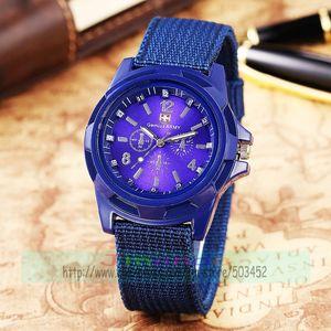 Image 3 - 100pcs/lot Fashion Gemius Army Design Men Watch Charming Sport Quartz nylon Watch Wrap Nylon Military Watches wholesale clock