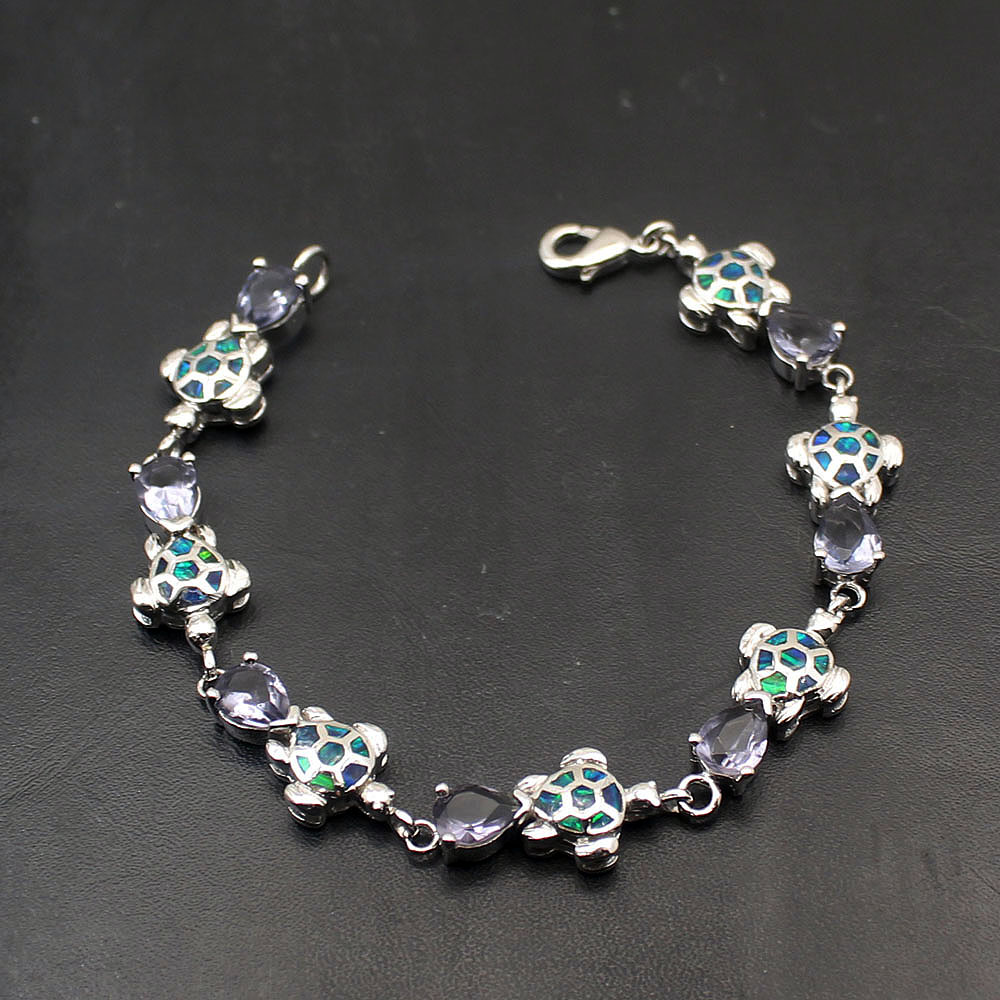 Hermosa Animal Design Natural Opal ShinyTopaz Sea Turtle 925 Sterling Silver Chain Links Bracelet For Women 7.25 Inch A280
