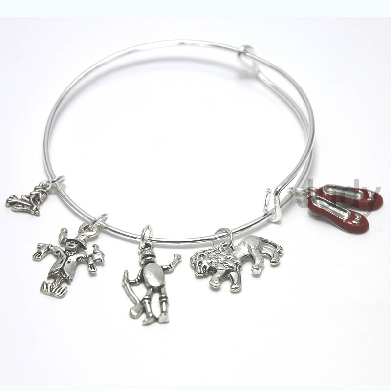 12pcs/lot Wizard of Oz Charm Bracelet Expandable Bangle Ruby Slippers Charm Tin Man - Li ...