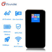 TIANJIE portable Power bank Pocket 8800mAh 4G Wifi Router 4G Lte Wireless mini Mobile Wifi Car 3G 4G Unlocked With Sim Card Slot