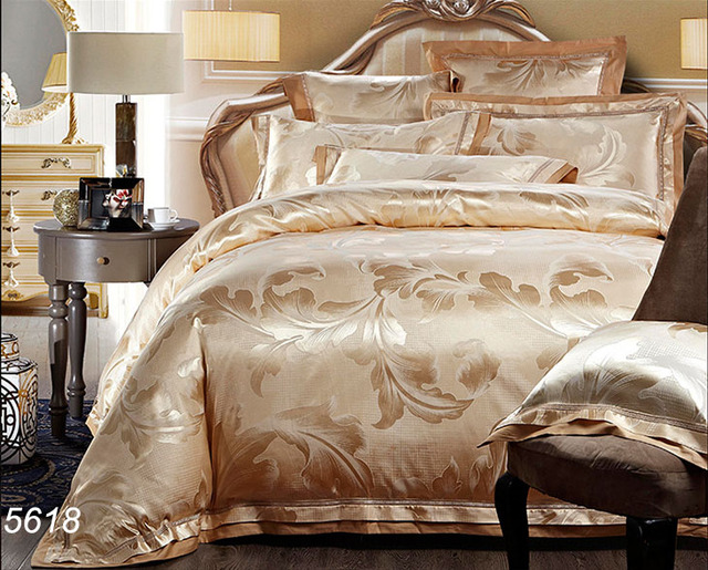 Camel Color Quality 6pcs/4pcs Silk Bedding Set Puffy Quilt Cover Bed Sheet  Satin Bed