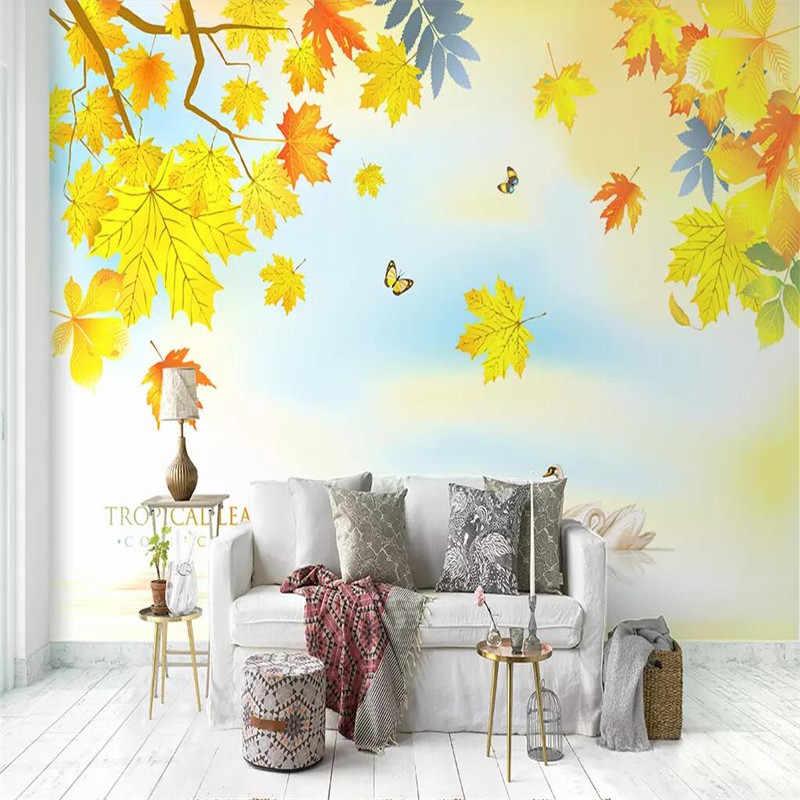 Золотой осенний кленовый диван ТВ фон стены профессионального производства фрески оптовая продажа, обои настенные плакаты фото стены