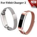 Caliente de lujo de la marca correa de acero inoxidable para carga 2 correa de reloj smart watch reloj para fitbit fitbit banda con conector