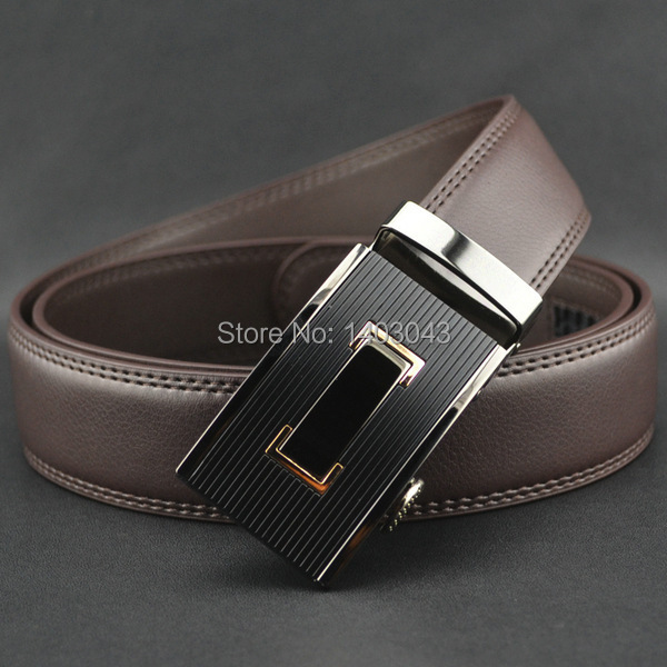 WOWTIGER Free shipping Automatic buckle belts Luxury automatically cowhide men belt brown black belts for men 2