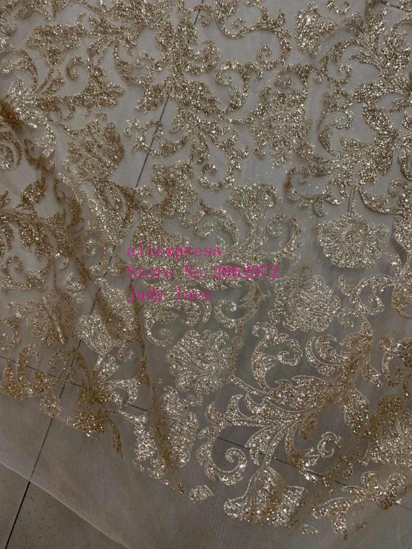 stock  5yards/bag    Champagne gold spinning thread glitter powder fashion French fabric wedding dress fashion design     KC181#