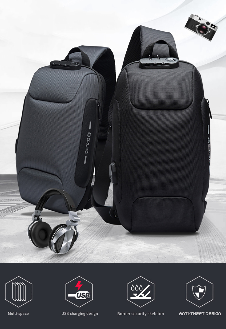 OZUKO 2019 New Multifunction Crossbody Bag for Men Anti-theft Shoulder Messenger Bags Male Waterproof Short Trip Chest Bag Pack 2
