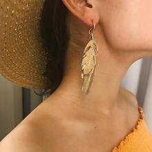 Fashion Leaf Shape Earrings Bohemian Geometric Exaggeration Gifts For Women Jewelry Long Boho Style Metal Earring