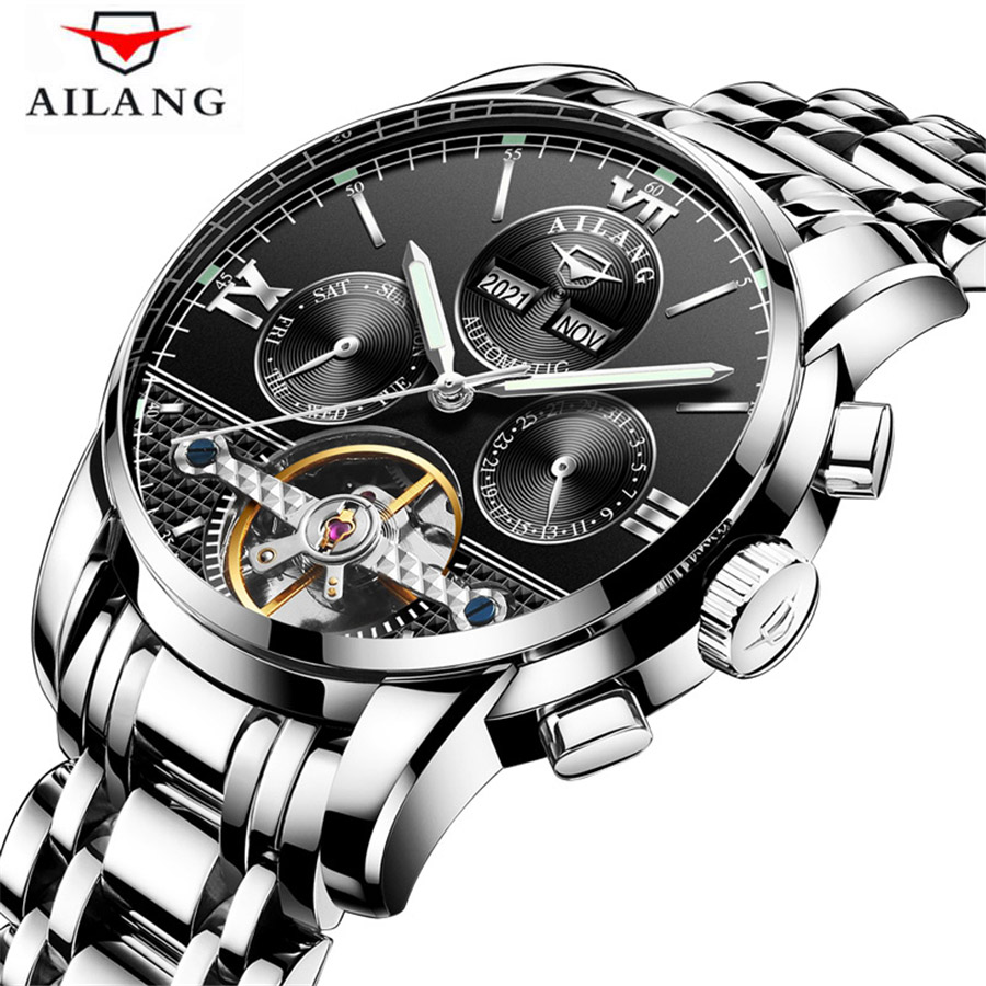 original ailang mechanical watches men waterproof luminous calendar automatic watch men montre homme relogio masculino 2017 Relogio Masculino AILANG Watch Men Luxury Brand Tourbillon Automatic Mechanical Watches Men Casual Business Waterproof Watch