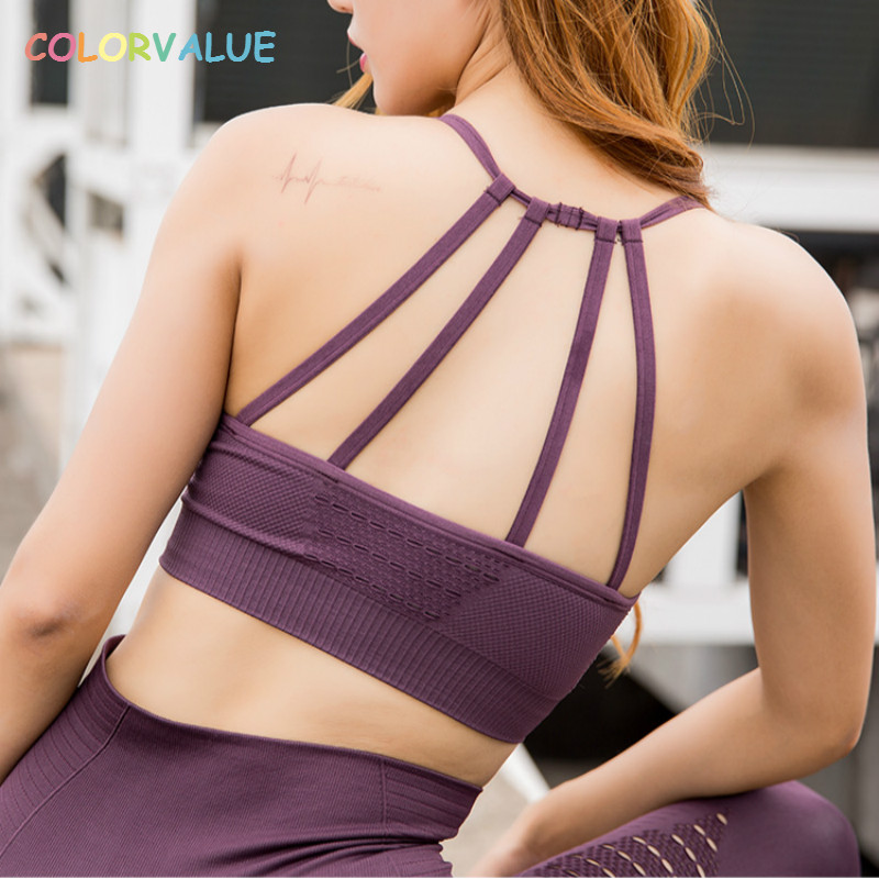 Colorvalue Hollow Out Padded Sports Bra Top Women Seamless Quick Dry Workout Gym Bras Solid Push Up Fitness Yoga Bras Crop Top fashionable sleeveless cut out solid color skinny crop top for women